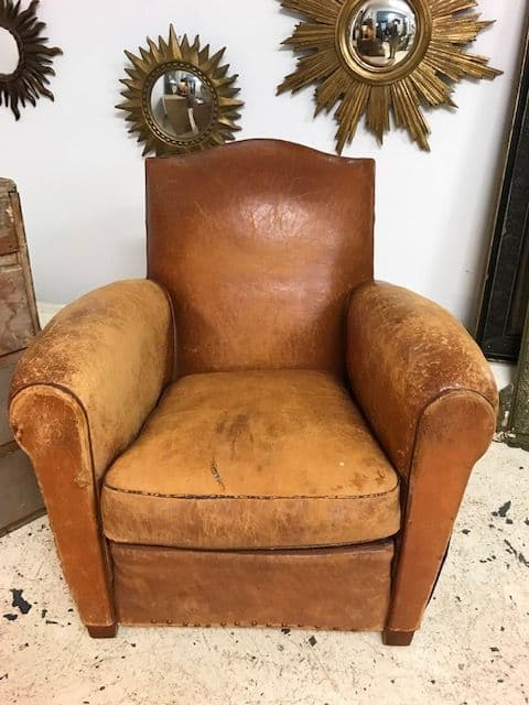 SOLD - Vintage 30/40s French Leather Club Chair - a909